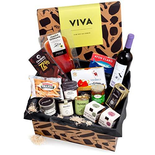 """Präsentkorb """"Viva"""" mit spanischen Delikatessen   Dekorative Geschenk-Box mit ausgewählten spanischen Spezialitäten   perfekt als Geschenk"""