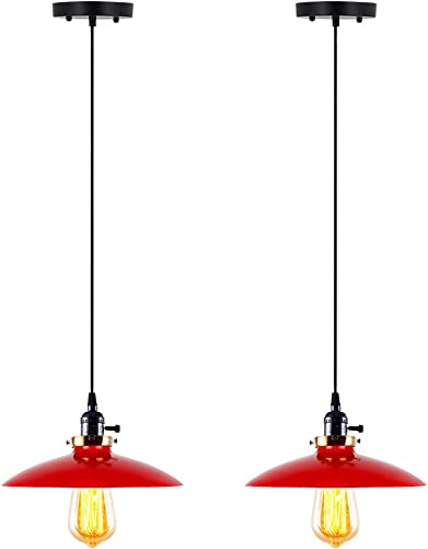 T A UFO Industrial Pendant Lights Edison Vintage Style,2 Light Kitchen Antique Brass Hanging Lighting Fixture Red