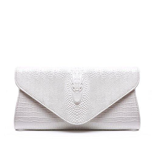 Genuine Womens Leather Solid Clutch Color Handbag White FTSUCQ Bag Shoulder Chain gqU57wgd