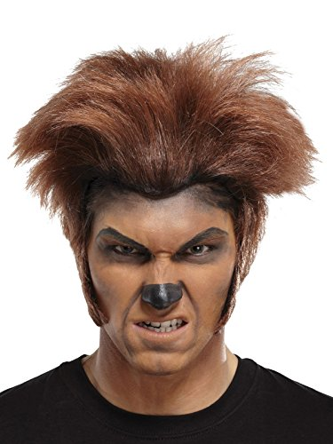 Mens Short Brown Halloween Wig Wolfman Costume Accessory with Large Side Burns