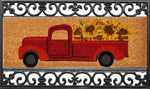 Evergreen Kensington Coir Mat Set, Coir Mat Size 28.25 W x 9.25 H, Scroll Switch Mat Tray 30 W x 18 H, Red Truck with Sunflowers