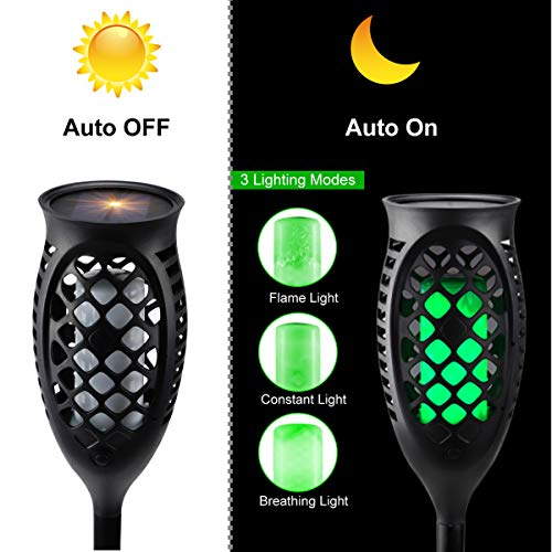 Juhefa Solar Lights Outdoor, Solar Torch Light Green Flickering Flame 99 LED Waterproof Garden Lighting Pathway Patio Landscape Decoration, 3 Modes & 3 Installation Ways, Dusk to Dawn Auto On/Off (4) by Juhefa (Image #4)