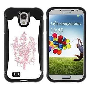 "Pulsar iFace Series Tpu silicona Carcasa Funda Case para Samsung Galaxy S4 IV I9500 , Ramo rosado blanco minimalista Limpio"""