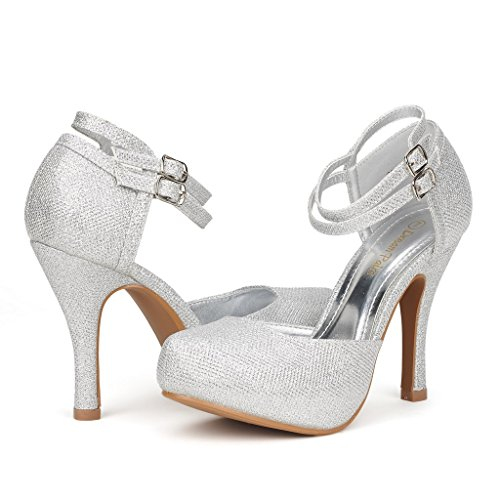 DREAM PAIRS OFFICE-02 Women's Classy Mary Jane Double Ankle Strap Almond Toe High Heel Pumps , OFFICE-02-SILVER, 10 B(M) US ()