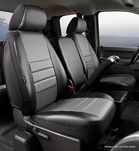 Fia SL67-35 GRAY Custom Fit Front Seat Cover Split Seat 40/20/40 - Leatherette (Black w/Gray Center Panel)