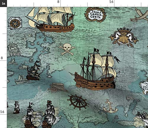 Spoonflower Pirate Map Fabric - Ships Blue Big Repeat Ocean Anchor Sailor Nautical Sea Print on Fabric by The Yard - Velvet for Upholstery Home Decor Bottomweight Apparel (Map Fabric Pirate)