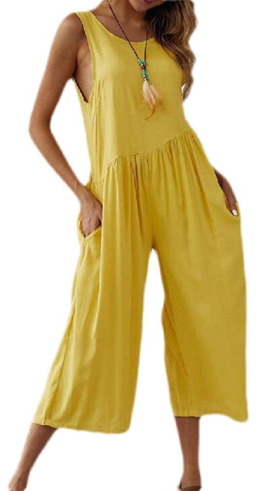 Sweatwater Womens Solid Wide Leg Sleeveless Loose Long Rompers Jumpsuits