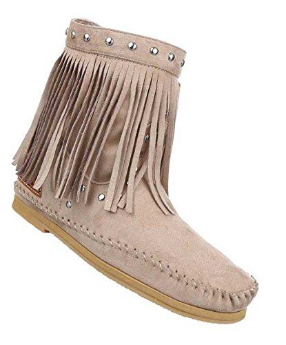 Damen Stiefeletten Schuhe Boots Designer Schlüpfstiefel mit Fransen und Nieten Hellbraun 35 rAzgEfYmS