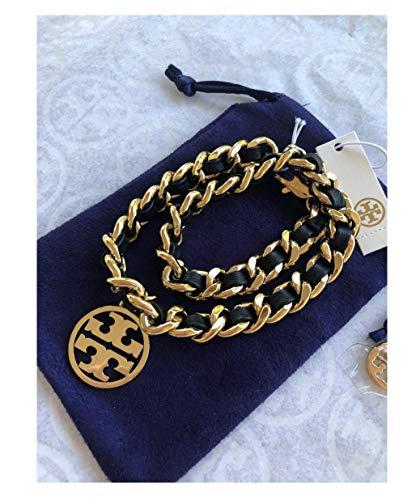 - Tory Burch Logo Leather Chain Double Wrap Bracelet