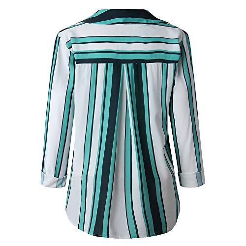 Rayure Printemps Loose Taille Blouse Longues Automne Solike Col Chemise Tops Revers Vert Shirt Chic Casual T Grande avec Impression Femme Manches Bouton Tunique wqFxUOXA