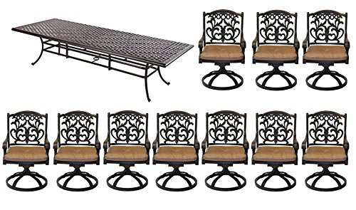 "10 Person Dining Set Patio Cast Aluminum 11pc Outdoor table 46""x 120"" Bronze"