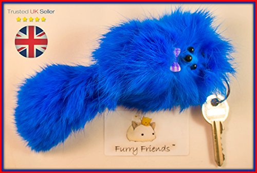BUY 2 GET 1 FREE!SALE 20cm Royal Blue Large Furry Friend Handmade Fur Keyring, Chic, Mum & Daughter Present Keychain, Quality Shoulder Bag Charm, Real Lucky Rabbit Fur (Royal Blue)