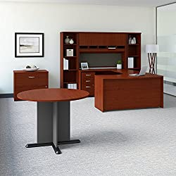 Bush Business Furniture Series C 60W Left Handed Bow Front U Shaped Desk with Storage and Conference Table in Mahogany