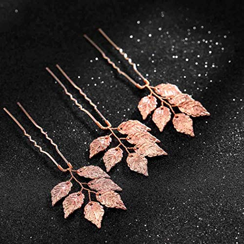 - Asooll Rose Gold Bride Wedding Leaf Hair Pins Bridal Hair Piece Accessories for Women and Girls