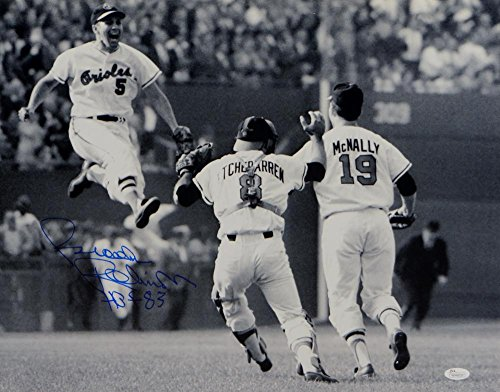 Brooks Robinson Signed Blue Orioles 16x20 Jumping Photo W/ HOF- JSA W Auth - Brooks Robinson Memorabilia