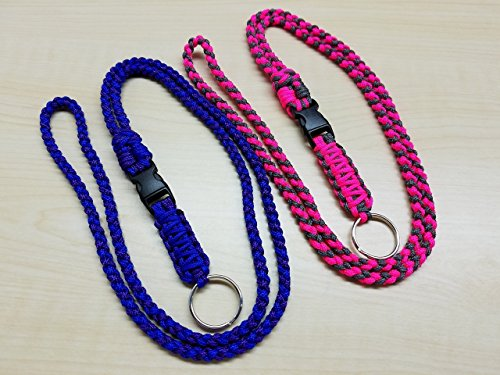 ID badge lightweight paracord lanyard with buckle & keyring - choose your colors - keychain - USA (Lightweight Plastic Sports Badge)