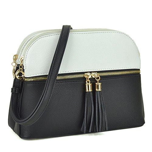 Women Lightweight Crossbody Shoulder Bag Medium Compartment Purse with Tassel White/Black