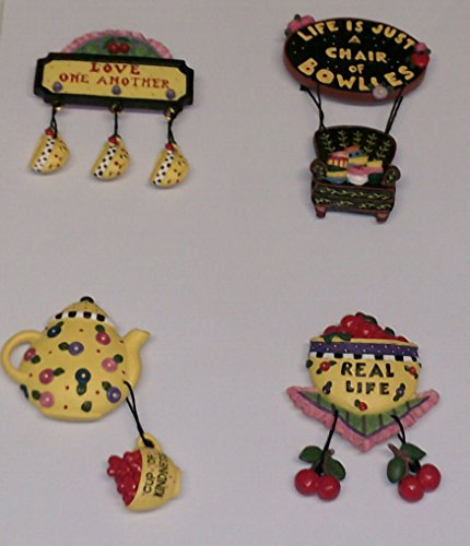 Mary Engelbreit Chair ((4 Pack) Mary Engelbreit Cherries Themed Magnet Collection, approx 2-3