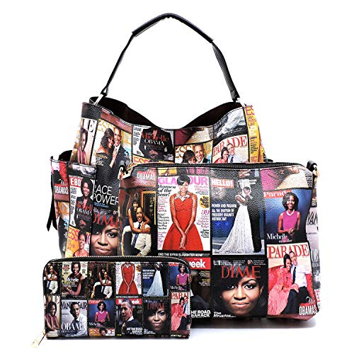 Magazine Cover Collage Michelle Obama Printed Square Hobo bag + Crossbody purse + Wallet 3pcs Set (Non-Glossy-Multi) ()