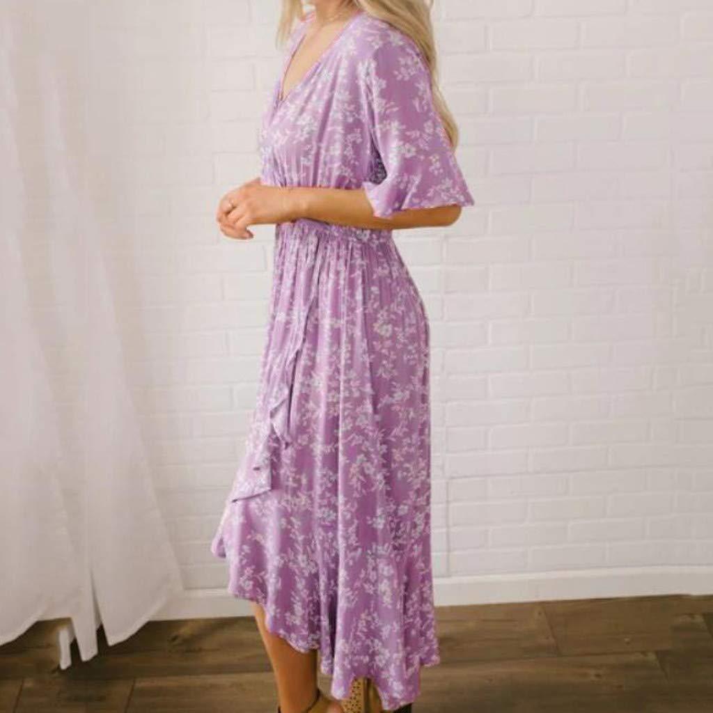 Women's Purple Flare Ruffle Short Sleeve High Split Irregular Hem V Neck Maxi Dress by ★ZFK_DRESS (Image #4)