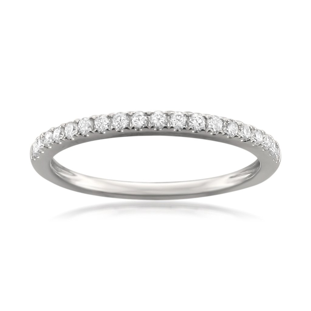 14k White Gold Round Diamond Micro-Pave Wedding Band (1/4cttw, H-I Color, VS2-SI1 Clarity), Size 6.5