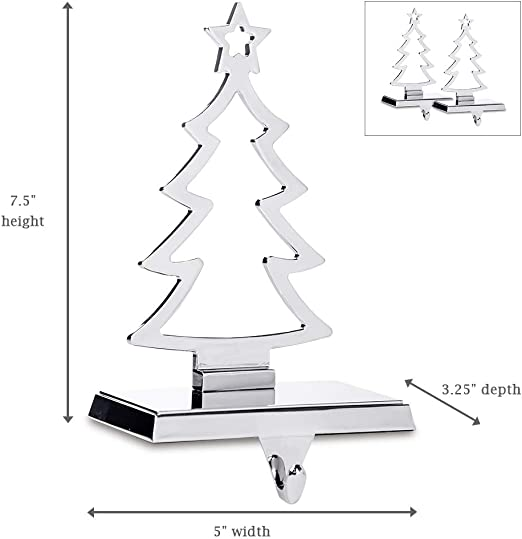 Christmas Tree Relax love Set Of 2 Christmas Stocking Holder Silver Christmas Tree Hanger with Hooks Xmas Mantelpiece Fireplace Decorations
