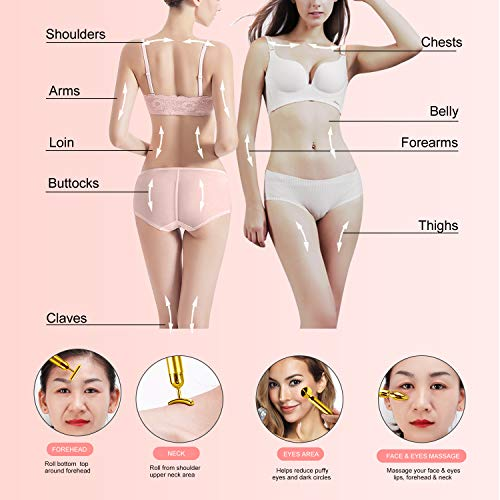 4-in-1 Beauty Bar 24k Golden Pulse Face Massager, Electric Jade Roller Facial Massager Rose Quartz, Arm Eye Nose Massage Stone for Face Lift Anti-Aging Anti-Wrinkles Skin Tightening Face Firming