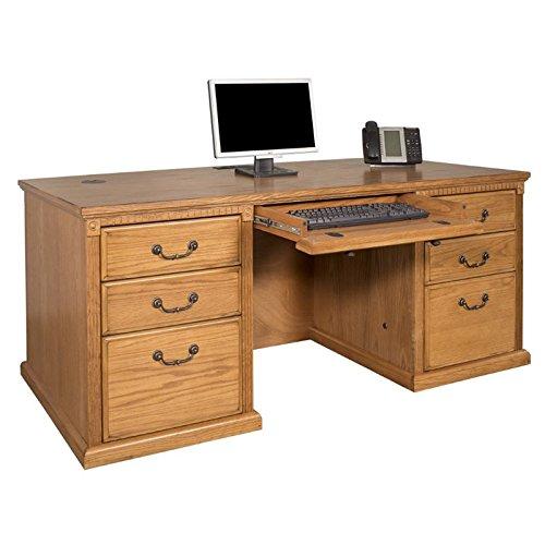Kathy Ireland Home by Martin Huntington Oxford Executive Double Pedestal Desk in Wheat (Dentil Double Molding)