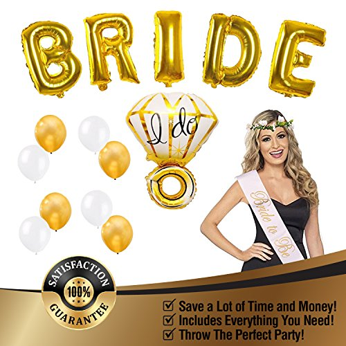 Bachelorette Party Decorations and Bridal Shower Kit Comes with Bride Foil Balloons, Diamond Ring Foil Balloon, White and Gold Balloons, Gold Fringe Curtain, and Bride to Be Sash