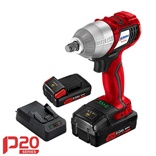 "ACDelco 20V Brushless Cordless Li-ion 1/2"" Impact Wrench Tool Kit, 2 Batteries, Fast charger, and Carrying Case P20 Series ARI20100B"