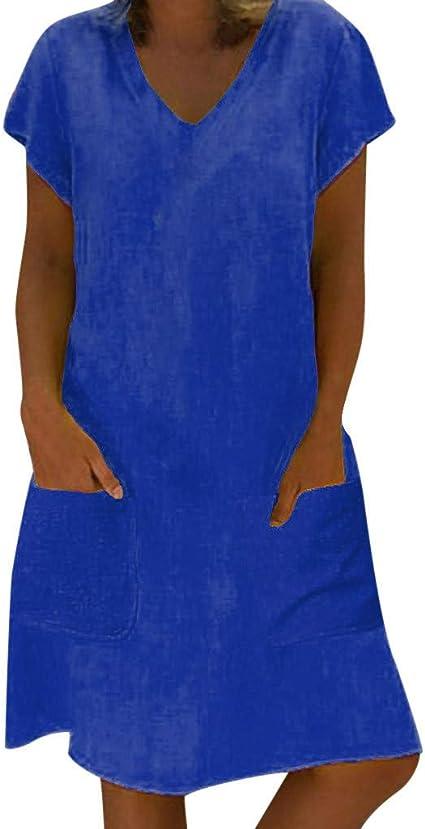 Vestidos Mujer Casual Verano 2019 Vestido de Mujer Estilo Femenino Camiseta de algodón Vestido Casual de Talla Grande para Mujer Camisa Vestido