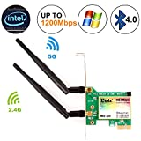 Ubit Bluetooth WiFi Card AC 1200Mbps, Wireless WiFi PCIe Network Adapter Card 5GHz/2.4GHz
