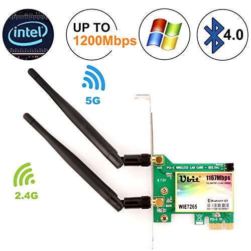 Ubit Bluetooth WiFi Card AC 1200Mbps, Wireless WiFi PCIe Network Adapter Card 5GHz/2.4GHz Dual Band PCI Express Network Card with Bluetooth 4.0 and 2 Antenna for Desktop/PC Gaming(WIE7265) (Best Wireless Card For Pc Gaming)