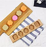 leoyoubei 5 Flower Environmental Wooden Muffin And Mooncake Cups Handmade Soap Molds Biscuit Chocolate Ice Cake candy - Baking Decoration Cutter Mold 12.5'' Wood color