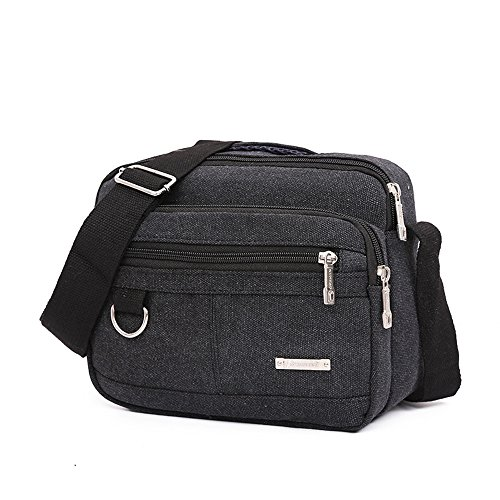 Kukul Bolsos de hombro, Bolsas de lona para hombres - 2017 Men's Crossbody Bag Men Messenger Bags (25CM*9CM*21CM) Negro