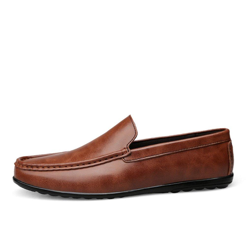 Für Mann, die neue Mode 2018, Mann, Für der Loafer beiläufige weiche lederne Art Anti Rutsch Breathable einfach anpaßt, um Geschäfts Stiefel Mokassins zusammenzubringen Braun 94815e