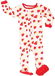 "Elowel Baby Girls footed ""strawberry"" pajama sleeper 100% cotton (size 6M-5Years)"