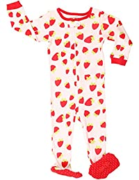 Elowel Baby Girls Footed Strawberry Pajama Sleeper 100% Cotton (Size 6M-5Years)
