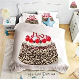 Homenon Bedding 4 Piece Sheet,Cake with Numeral Candles and Cherries Yummy Desert for Party,Multicolor,Full Size,Wrinkle,Fade Resistant
