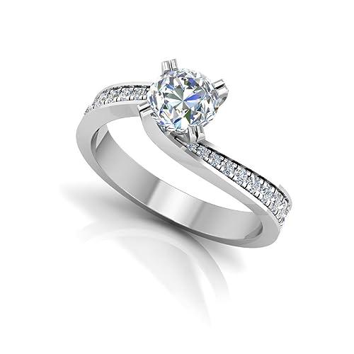 0.57 ct corte redondo anillo de compromiso de diamantes Moissanite 14 K oro blanco diamantes H-I