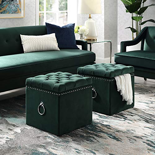 Inspired Home Hunter Green Velvet Ottoman - Design: Ella | Storage | Knob Handle | Cube | Chrome Nailhead Trim Finish