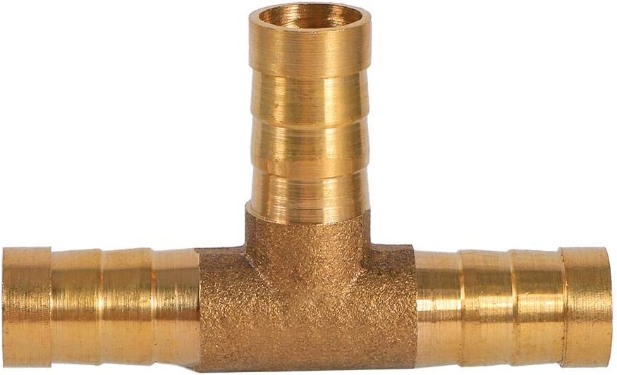 10mm Barbed T Piece Gas Hose Connector Adapter Quick Release 3 Way Gas Connector Joiner Fuel Line Brass T Piece for Fuel Air Water Gas Oil