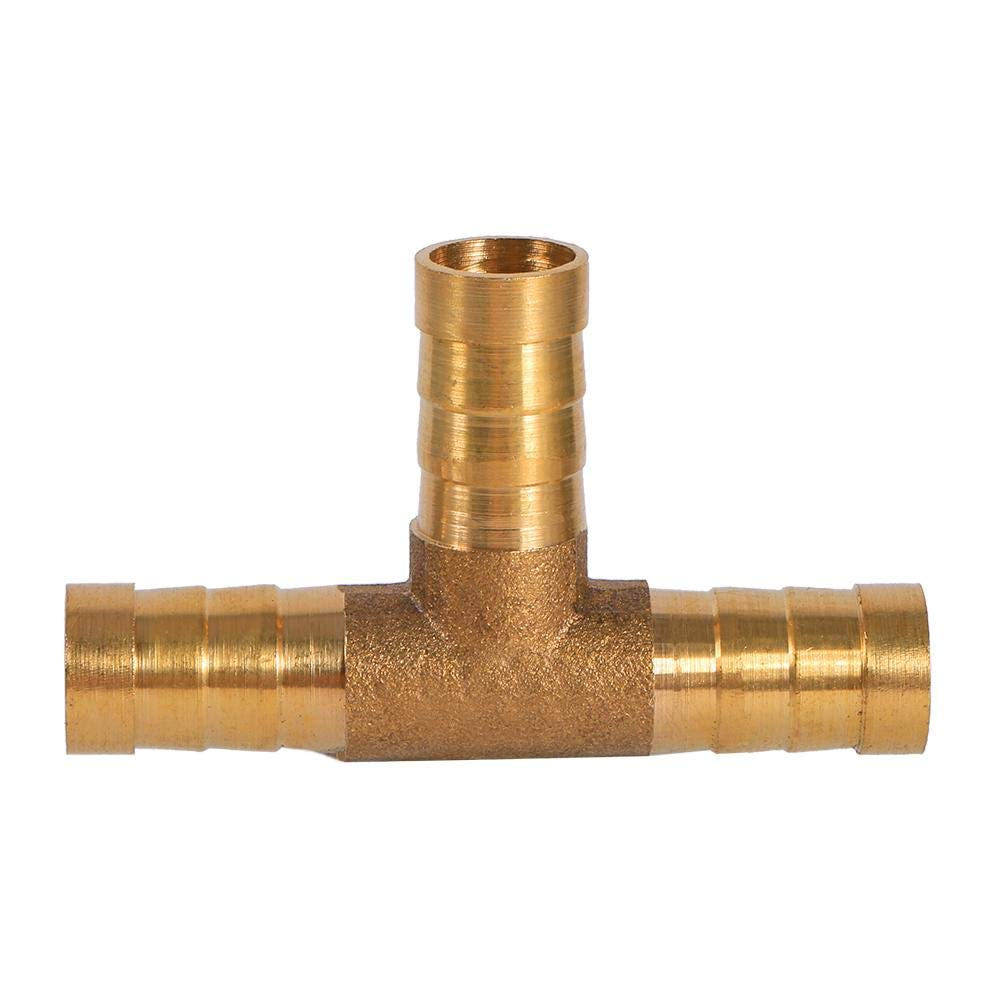 8mm 3 Way Brass T Piece Fuel Hose Joiner Connector Barbed Hose Fittings for Compressed Air Oil Gas Pipe