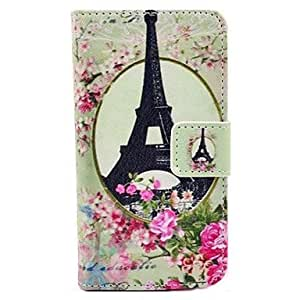 GJY Eiffel Tower Pattern PU Leather Full Body Case with Stand and Card Slot and Money Holder for iPhone 4/4S