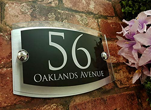 KaruSale Contemporary House Sign Plaque Door Number 1-999 Personalised Name Plate (Balck) by KaruSale (Image #8)