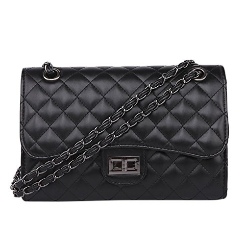 Black 1 Handbag Metal PU Bag Clutch Leather Crossboday Lattice Qzunique Bag Handbag Women's Chain wq7t11O