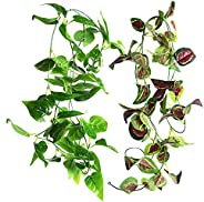 Artificial Scindapsus Vines,Small Animal Hanging Vine for Reptiles and Amphibians,8 FT Plastic Plant Habitat D