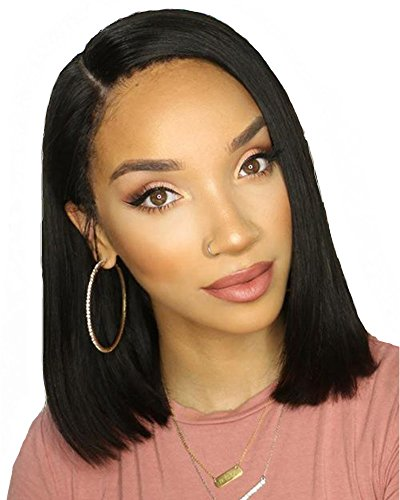 Beauty : Cici Collection 13x6 Lace Front Wigs Human Hair Straight 150% Short Bob Wigs For Black Women 10""