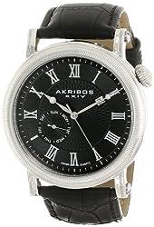 Akribos XXIV Men's AK673BK Swiss Quartz Multifunction Silver-tone Stainless Steel Black Leather Strap Watch