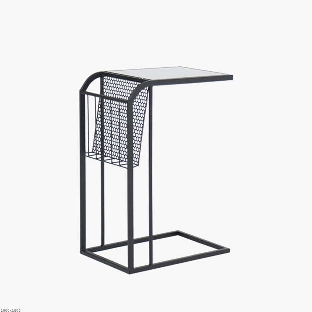 Xingkaiji Side Tables Jcnfc Sof Tempered Glass Metal Iron, Storage Rack, C Shape Coffee Table, Snack Table Decorative for Living Room, Patio, Garden or Bed Room (Color : Black) by Xingkaiji